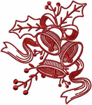 Bells - Christmas Redwork #10 Machine Embroidery Design