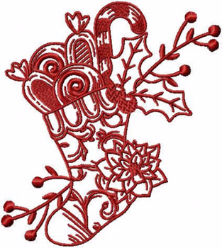 Stockings - Christmas Redwork #11 Machine Embroidery Design