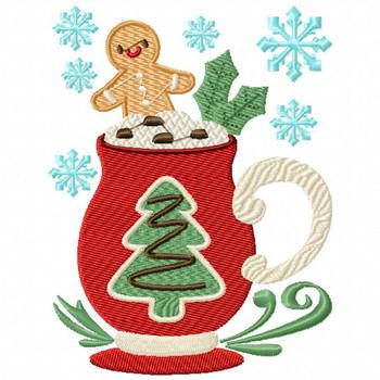 Mug Rug Christmas Tree Hot Drink #03 In The Hoop Machine Embroidery Design