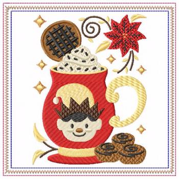 Mug Rug  Cookie Elf Hot Drink #05 In The Hoop Machine Embroidery Design