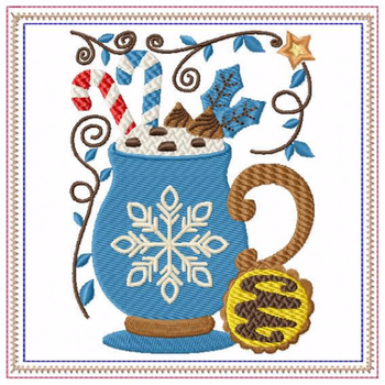 Mug Rug Snowflake Hot Drink #06 In The Hoop Machine Embroidery Design