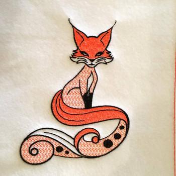 Fox Machine Embroidery Design Stitched