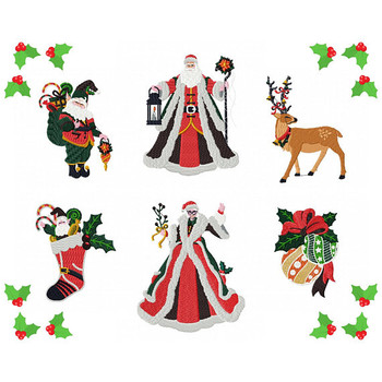 Christmas Characters Collection of 6 Machine Embroidery Designs in Stitched