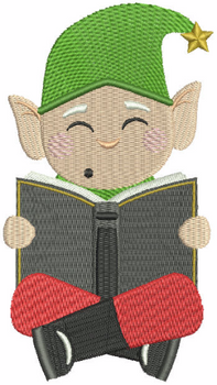Reading Elf - North Pole Character #02 Machine Embroidery Design