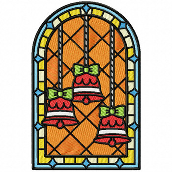 Christmas Bells Glass - Stained Glass #03 Machine Embroidery Design
