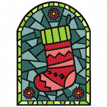 Stocking Glass - Stained Glass #06 Machine Embroidery Design