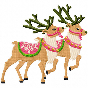 Couple Reindeer - North Pole Character #05 Machine Embroidery Design