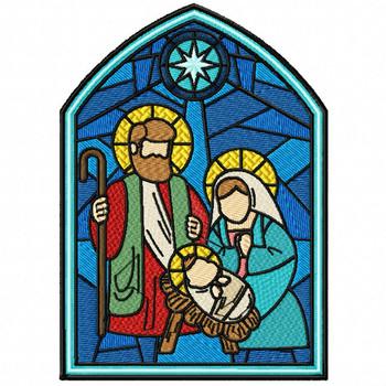 Nativity Scene Glass - Stained Glass #07 Machine Embroidery Design