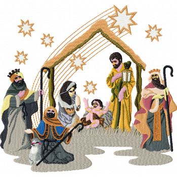 The Birth of Jesus - Religious Christmas #09 Machine Embroidery Design