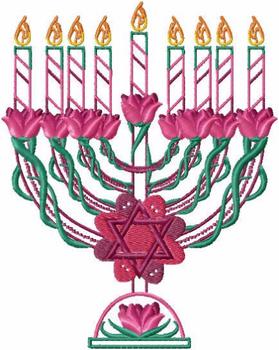 Menora - Fuschia Chanukah - Hanukkah #03 Machine Embroidery Design