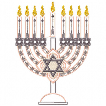 Menora - Peach Chanukah - Hanukkah #07 Machine Embroidery Design