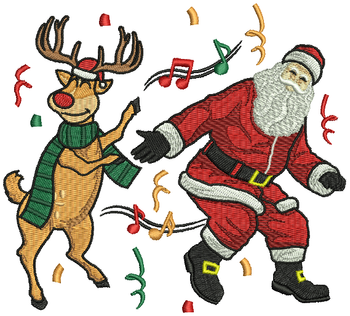 Dancing Santa and Reindeer - Humor Christmas #03 Machine Embroidery Design