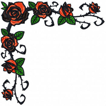 Detailed Rose Napkin Corner Pattern Collection #07 Machine Embroidery Design