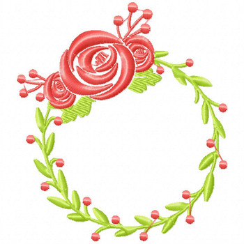 Floral Wreath - Flower #05 Machine Embroidery Design