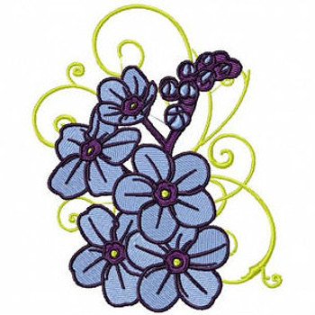 Blue Floral - Flower #09 Machine Embroidery Design