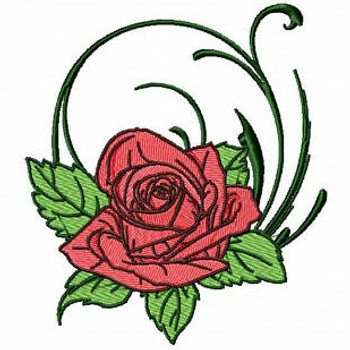 Single Rose - Flower #10 Machine Embroidery Design