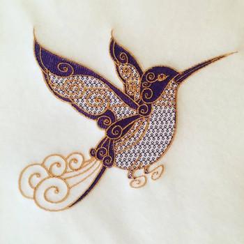 Hummingbird Machine Embroidery Design Stitched