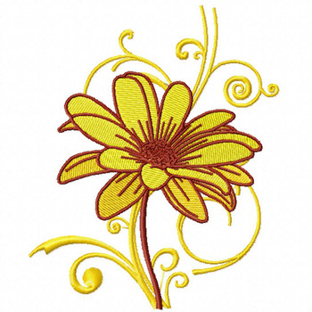 Yellow Daisy - Flower #12 Machine Embroidery Design