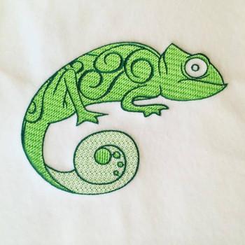 Gecko Machine Embroidery Design Stitched