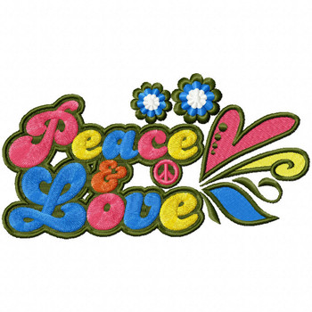 Peace and Love - Psychedelic 60's #10 Machine Embroidery Design