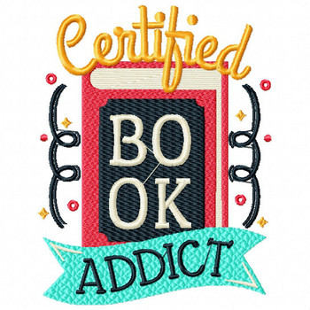 Certified Book Addict - Reading Hobby #05 Machine Embroidery Design