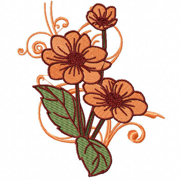 Peach Floral - Flower #13 Machine Embroidery Design