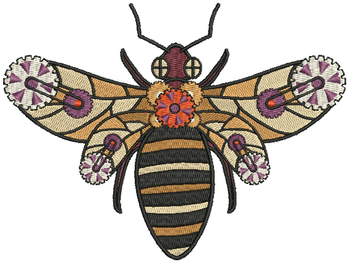 Steampunk Bee - Machine Embroidery Design - Steampunk Collection #13
