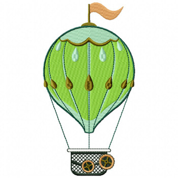 Steampunk Hot Air Balloon - Machine Embroidery Design - Steampunk Collection #16