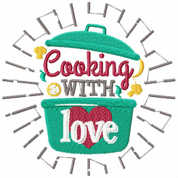 Cooking With Love - Cooking Hobby #05 Machine Embroidery Design