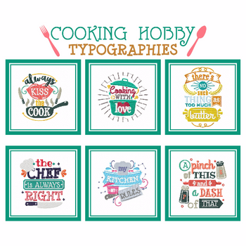 Cooking Hobby Collection of 6 Machine Embroidery Designs