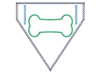 Bone Applique Doggie Bandanna - In The Hoop Machine Embroidery Design
