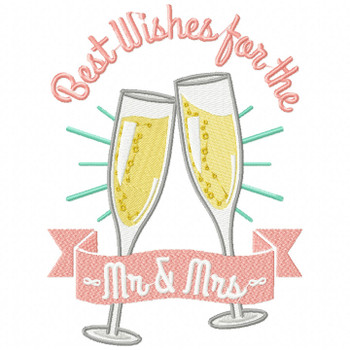 Best Wishes for the Mr & Mrs - Wedding Typography #02 Machine Embroidery Design