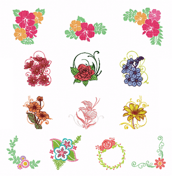 Flowers Collection of 13 Machine Embroidery Designs