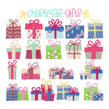 18 Christmas Gift designs - Christmas Gift Full Collection Machine Embroidery Design