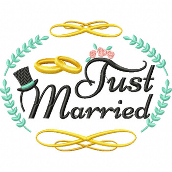 Just Married - Wedding Typography #06 Machine Embroidery Design