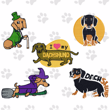 Dachshund Collection of 5 Machine Embroidery Designs