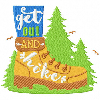 Get Out and Hike - Machine Embroidery Design - Hiking Collection #02
