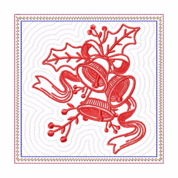 In The Hoop Machine Embroidery Mug Rug - Christmas Redwork Three Bells Collection #11