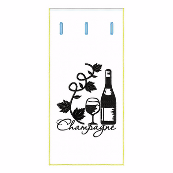 ITH Wine Bag Champagne Vine - In The Hoop Machine Embroidery Design
