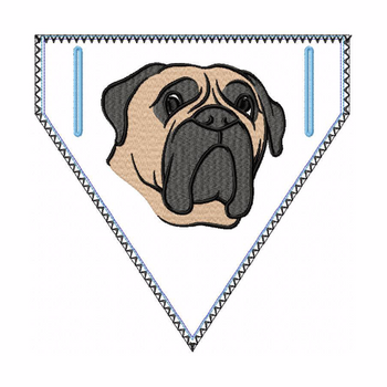 Bullmastiff Doggie Bandana 04 - In The Hoop Machine Embroidery Design