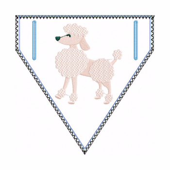 Poodle Doggie Bandana - In The Hoop Machine Embroidery Design