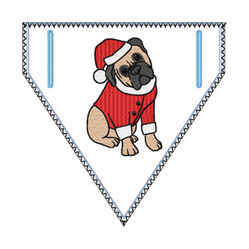 Doggie Bandana Santa Dog 02 - In The Hoop Machine Embroidery Design