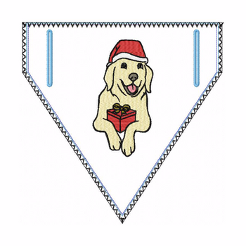 Doggie Bandana Santa Dog 04 - In The Hoop Machine Embroidery Design