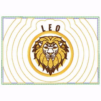 Leo Zodiac Small Money Purse - In The Hoop Machine Embroidery Design