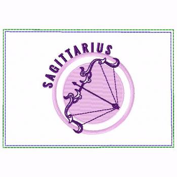 Sagittarius Zodiac Small Money Purse - In The Hoop Machine Embroidery Design