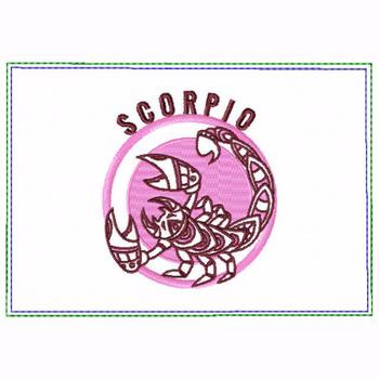 Scorpio Zodiac Small Money Purse - In The Hoop Machine Embroidery Design
