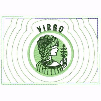 Virgo Zodiac Small Money Purse - In The Hoop Machine Embroidery Design