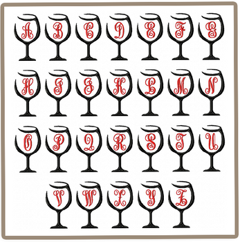 26 Wine Glasses Monogram Key Fobs - In The Hoop Machine Embroidery Designs - Instant Download!