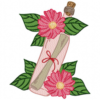 Pink Bottle Love Letter Machine Embroidery Design - Love Letter in a Bottle #06
