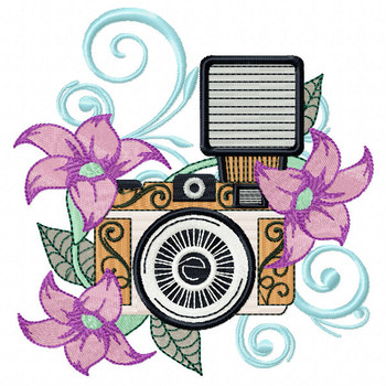 Flash Camera Machine Embroidery Design - Photography Hobby #01